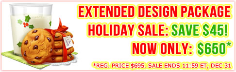 Happy Holidays  Sale: $45 off Extended Design Package